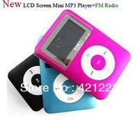 Free Shipping New  LCD Screen Mini MP3 Player +FM Radio Support 1-8GB Micro SD/TF Card Build-in Speaker,With earphone+usb cable