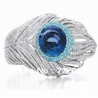 Order 925 silver and sapphire wedding ring The jewel-encrusted ring Big gem ring  An engagement ring