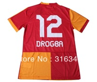 Hot sell 13/14 12# Drogba best thai quality Galatasaray SK home red short sleeve fans vrsion soccer football jerseys, size:S-XL