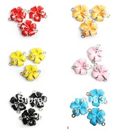 wholesale beads 27*21mm 2 hole 6 color flower rhinestone charms pendant for jewelry making fashion accessary free shipping