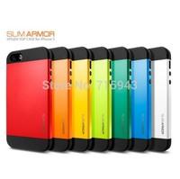 High Quality Hard PC+Silicone SGP SPIGEN SGP Slim Armor Color Case Cover for iPhone 5 5G 5S Wholesale Free Shipping 10pcs/lot