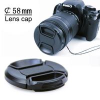 Quality NEW 58 mm Lens Cap Cover with String for Canon Nikon 58mm lense Camera DSLR SLR Lens Filter Free ship