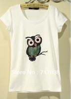 2013 spring 100% beading cotton basic t-shirt loose o-neck short-sleeve women's bordered owl Free shipping