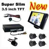 Super Slim 3.5 Inch Drawing Panel TFT LCD Monitor & Flush Mounted Night Vision Rear View Camera & 4 Sensors Video Parking Sensor
