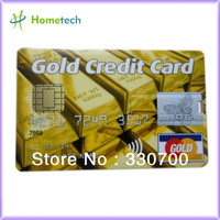 Shipping fee full capacity 2gb / 4gb / 8gb A grade GOLD Credit Card shape USB with password protection HT-06