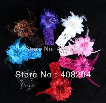 12pcs/lot Girls Headband Flower Baby Hairbands Infant Knitting Hair Weave, Free shipping