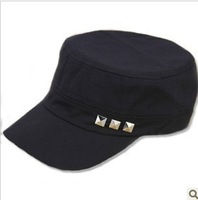 Free shipping Solid color Adjustable Basebal cap Classic Army Cadet Military Flat Top cotton cap