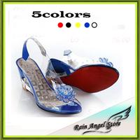 Hot Selling Women Sandals Fashion Transparent Rhinestone Flower Open Toe Wedges Sandals 42 43 Plus Size Women Shoes Clear