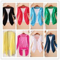 2015 New Arrival Mulit Women Knitwear Fashion Lace Cardigans Thin Hook Flower Sun Block coat Free Shipping A124