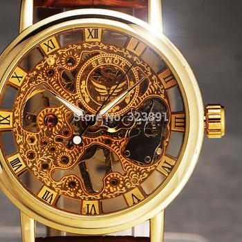 2014 new hot sale skeleton  hollow fashion mechanical hand wind men luxury male business leather strap Wrist Watch