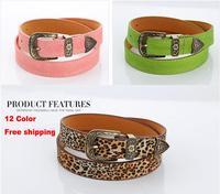 2014 fashion Lady belt pigskin velvet women's belts candy color belt decorated Leopard Belt Buckle free shipping