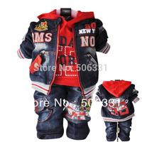 Baby boys denim three pieces set infant children's clothing male child spring suit 1- 4Y