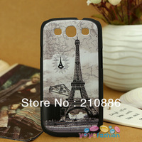 free shipping sample phone case covers for samsung galaxy SIII S3 I9300,paris the eiffel tower map, frosted steric printing