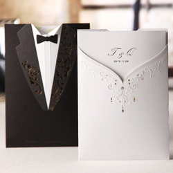 White Bride and Bridegroom Wedding Invitations Cards with Envelopes and Seal, Wholesale Available, High Quality(China (Mainland))
