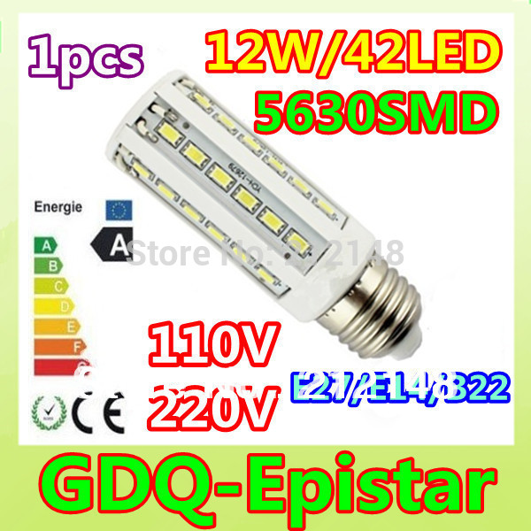 Free shipping 1x 12W 42LED 5630 SMD E27 E14 B22 Corn Bulb Light Maize Lamp LED Light Bulb Lamp LED Lighting Warm/Pure/Cool White(China (Mainland))