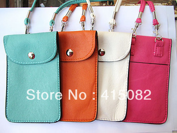 Cell Phone Pouch for iPhone 4S 3GS  PU Leather Case for iPod Touch HTC G11 G12 Samsung i9100 i9300  Multicolor-Free Shipping