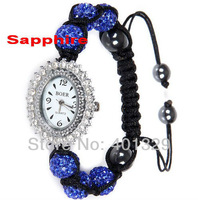 Free Shipping! 2013 New Women's Watch Fashion Shamballa Bracelet Watch, Gift Battery