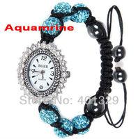 Popular!!! Sky Blue Ceramic Beads Shamballa Bracelet Watch Wholesale 3pcs/lot Gift Battery