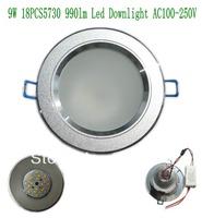 Free shipping Aluminum 18Pcs 5730 9W 990lm Led Light Down light AC 100-250V