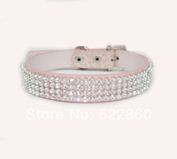 Free Shipping Croc Dog Cat Rhinestone Collars Crystal Diamond Pet Dog Puppy Pu Leather Collars 3 Color 3 Size