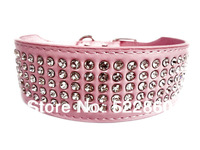 Free Shipping 2inch Width 5 Rows Full Bling Diamante Rhinestone Leather Pet Dog Collars PINK BLACK RED