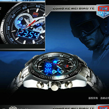 2013new Hight Quality Stainless Steel Black Men's military  Blue Binary LED Pointer Watch Mens 30AM Waterproof sports Watches