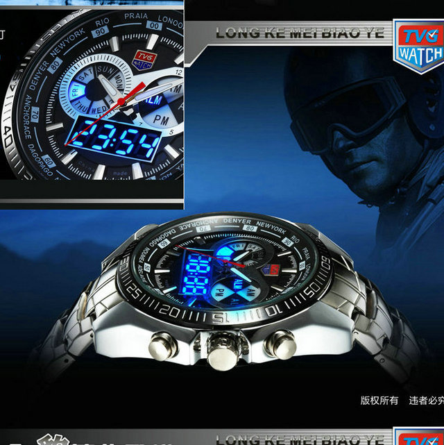 2013new Hight Quality Stainless Steel Black Men's military Blue Binary LED Pointer Watch Mens 30AM Waterproof sports Watches(China (Mainland))