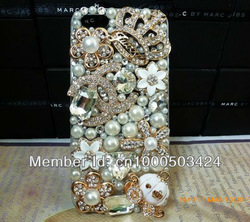 2013 Handmade 3D Gold C Crown Pumpkin Flowers Diamond Crystal Bling Luxury Cases Cover For iPhone 4 4s Free Shipping(China (Mainland))