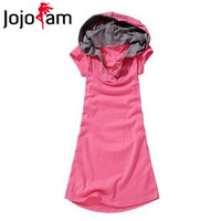 Free Shipping! Hot Sale 2013 Summer Women Clothing Hooded Short-Sleeve Cotton Long T-shirt Plus Size L/XL/XXL/ 3XL/4XL T06857#