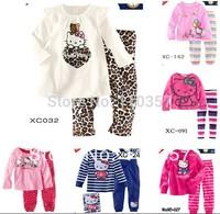 Children Cotton Long Sleeve Cartoon Hello Kitty Leopard Pajamas Baby Girl Boys Sleepwear Kids Blue pyjamas clothes sets 6set/lot