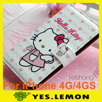 Lovely Cute Cartoon Hello Kitty Fashion Case Cellphone Shell PU Leather Case For iPhone 4 4G 4GS 4s+Free Screen Protector