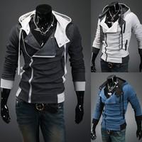 Free Shipping The hooded cardigan Leisure brushed sweater men's jacke M~XXL