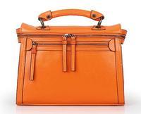 2014 High Quality Women Hard Retro Wax Genuine Leather Handbags Fashion Double Zipper Orange Tote Messenger Bags! Q0293