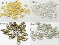 12mm 300pcs/lot  4 Colors For Choose Antique Bronze /Rhodium/Gold Plated Lobster Clasp Findings, Jewelry Lobster Clip Findings