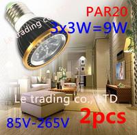 2Pcs/lot Par20 Led Lamp E27 Dimmable 3X3W 9W Spotlight Led Light Led Bulbs 85V-265V Energy Saving Free shipping