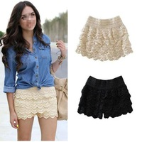 Fashion Womens Crochet Tiered Lace Short Shorts Under Safety Hot Pants Size XS to S   # L034683