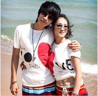 Unisex Short-Sleeved Cotton T-shirt Heart Print White/Black/Gray couple t shirt loves man women spring autumn beach wear tshirt