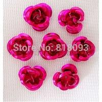 Aluminum Rose Flower,  Tiny Metal Beads,  Magenta,  10x6.5mm,  Hole: 1mm,  about 920-950pcs/bag