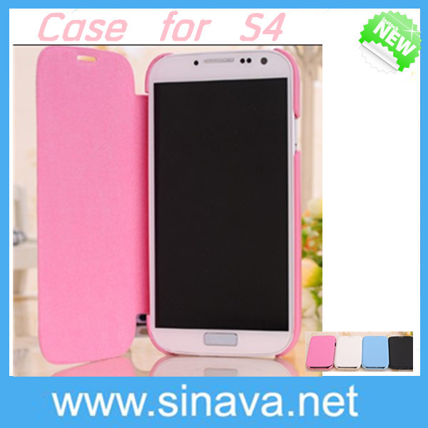 TOP selling Popular sweet color for girl Flip PU Leather Cover Case for Samsung Galaxy S4 I9500 MOQ:50PCS Free shipping DHL(China (Mainland))