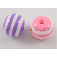 most wanted items Resin Beads,  Round,  Lined,  Mixed Color,  about 8mm in diameter,  hole: 2 mm
