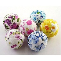 Handmade Woven Cloth Beads,  Round,  Mixed Color,  about 20mm diameter,  hole: 3mm