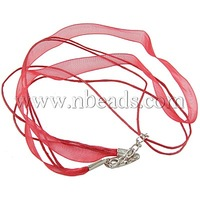 "Jewelry Making Necklace Cord,  with 2 Threads Wax Cord,  Organza Ribbon and Iron Findings,  Red,  about 17""/strand"
