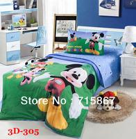 Free shipping 100% cotton Mickey printing 3D children bedding set, fashion flat sheet type duvet cover set,bed linen