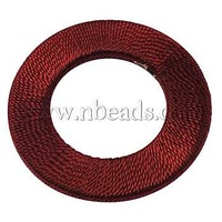 Handmade Woven Beads,  Wood Bead covered with Fiber,  Ring,  FireBrick,  Size: about 47mm in diameter,  4mm thick