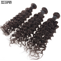 "Mixed Length Virgin Peruvian Hair Extension Deep Curly Hair Machine Weft 12""-28"" Natural Color 1B#, 3pcs/lot, DHL free shipping"