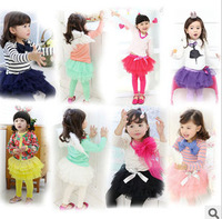 Korean kids lace tutus yarn culottes girl skirts long pants Various of colors for Autumn wholesale 5pcs/lot FREE SHIPPING duocai