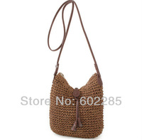 Hand made Fashion Summer Straw rope women messenger shoulder beach bag  lady holiday use