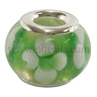 Handmade Lampwork European Beads,  Large Hole Beads,  with Silver Color Brass Core,  Rondelle,  Green,  about 14mm in diameter