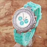 10pcs/lot GENEVA Double diamond Watch Silicone Crystal Quartz Ladies Women Jelly Wrist watch Version color New LJX14