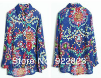 Hot Sale,New 2013!Europe Style Jewel Printed Chiffon Women' Shirt,women's Clothing, Free Shipping,Wholesale And Retail